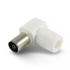 Гнездо ТВ пластик угловое без пайки белое 6-0026
